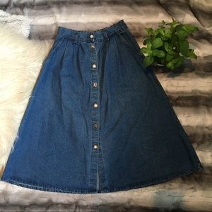 [Vintage] Denim Front Button Skirt
